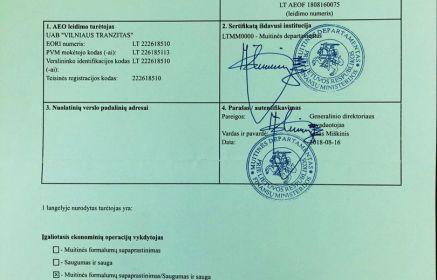 UAB Vilniaus Tranzitas išduotas AEO sertifikatas